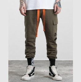 Men's Letter Printed Orange Ribbon Pocket Slim Fittet Pants