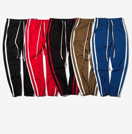Men's Side Stripe Long Drawstring Techno Track Pants Joggers