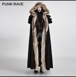 Wolf Wool Faux Fur Gothic Winter Coat Cloak