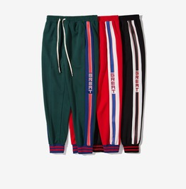 Men's Casual Side Stripe Long Drawstring Sport Jogger Pants