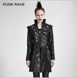 Military Style Goth Leather Winter Coat