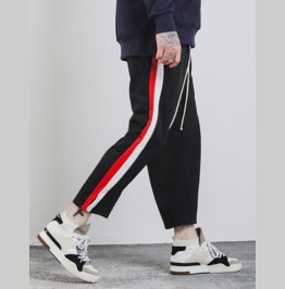 Men's Contrast Stripe Straight Leg Loose Jogger Pants