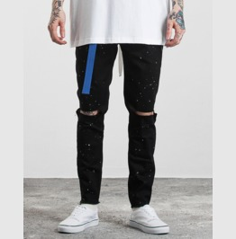 Men's Fashion Ink Printed Distressed Slim Fitted Skinny Jeans