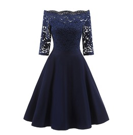 Women's Off Shoulder Vintage Floral Lace Cocktail Party Swing Dress