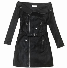 Women's Sexy Off Shoulder Lapel Faux Leather Midi Jacket With Belt
