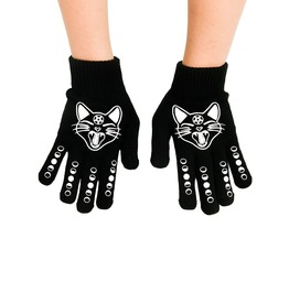 Witchy Woman Black Cat & Moons Gloves