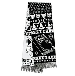 Witchy Woman Black Cat & Moons Large Knit Scarf