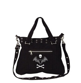 Lace Bat Skull & Crossbones Black Canvas Pistol Belt Bag