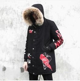 Men Warm Down Cotton Jacket Parka Fur Collar Winter Hooded Coat