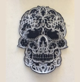 Embroidered Lacey Gothic Skull Patch 2 Sizes Available