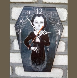 Wednesday Addams Wall Clock. Coffin Shape Clock. Addams Family Character