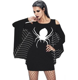 Spider Web Cut Shoulder Bodycon Dress