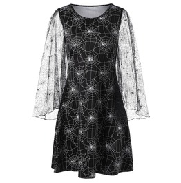 Spider Web Flare Sleeves Dress