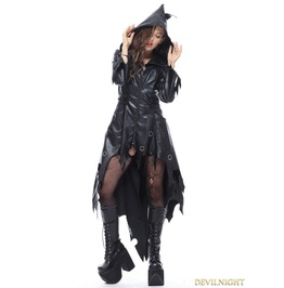 Black Gothic Halloween Style Pu Leather Hooded Jacket For Women Jw111
