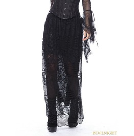 Black Gothic Casual Hollow Out Lace Long Skirt Kw097