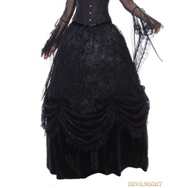 Black Gothic Long Skirt With Luxuriant Flocking Lace Kw112