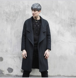 New Mens Wool Blend Long Jacket Casual Autum Fashion Outwear Coat