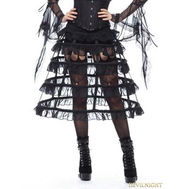 Black Gothic Lolita Layers Petticoat With Solf Fishbone Kw114