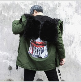 Winter Mens Faux Fur Collar Hooded Parka Thick Warm Down Cotton Coats