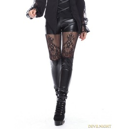 Black Gothic Sexy Lace Flower Leggings Pw082