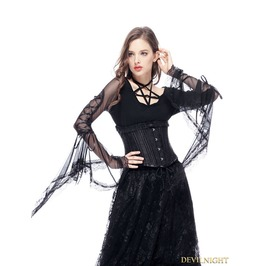Black Vintage Gothic Long Trumpet Sleeves Star T Shirt For Women Tw145