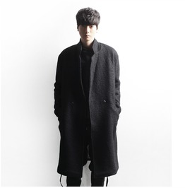 Fashion Mens Long Loose Fit Casual Long Jacket Wool Blend Business Outwear