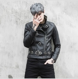Men's Pu Leather Jacket Slim Biker Motorcycle Jacket Coat Outwear