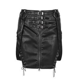 Gothic Rock Fetish Leather Look Mini Skirt