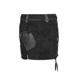 Punk Rave Gothic Metal Post Apocalyptic Denim Ripped Min I Skirt