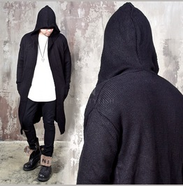 Hooded Knit Open Long Cardigan 116