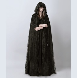 Gothic Punk Womens Black Hooded Lace Colak Halloween Costumes