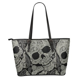 Interest Print Paisley Sugar Skull Womens Leather Tote Shoulder Bags Handbag