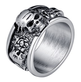 Crack Skull Skeleton Head Biker Punk Rock Ring Men