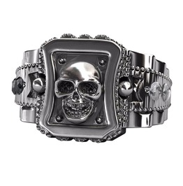 Black Stones Chunky Design Skull Skeleton Head Biker Punk Rock Ring Men