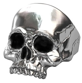Rebelsmarket vintage cracked skull skeleton head biker punk rock ring men  rings 5