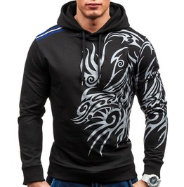 Punk Rock Tribal Design Slim Fit Hoodie Sweatshirt Men