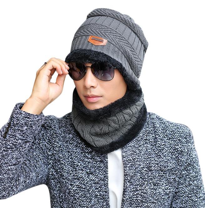 Knit Scarf Cap Neck Warmer Beanies Winter Hat Men Women  46ed17b9b54