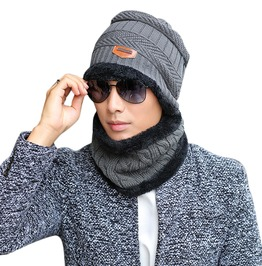 Knit Scarf Cap Neck Warmer Beanies Winter Hat Men Women 600f7e266c6