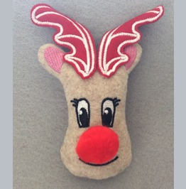 Embroidered Rudolf The Red Nose Reindeer Christmas Brooch