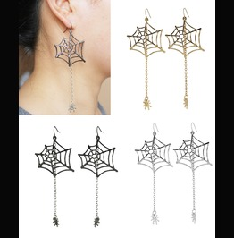 "Spiderweb Spider 3.5"" Drop Earrings Black Silver Gold Goth Rhinestone"