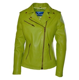 Faneema Riva Moto Lambskin Leather Jacket For Women, Green Apple