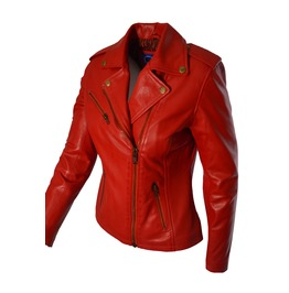 Faneema Riva Moto Lambskin Leather Jacket For Women, Red