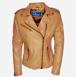 Faneema Riva Moto Lambskin Leather Jacket For Women, Camel