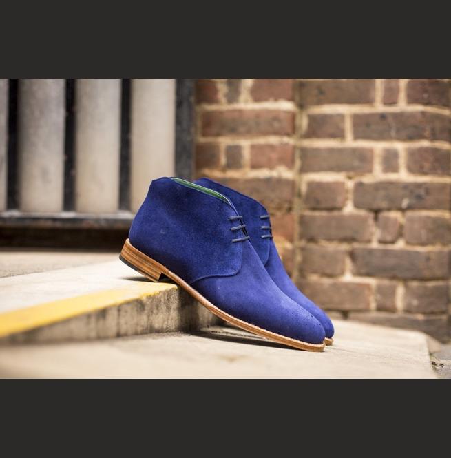 Handmade Men Royal Blue Chukka Boots