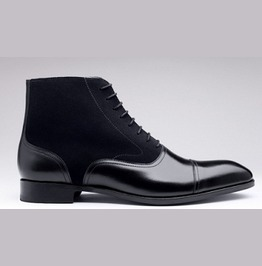 Handmade Black Leather Boots, Mens Ankle High Oxford Dress Leather Boots