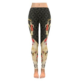 Funky Vintage Tattoo Style Skull With Roses And Hearts Low Rise Leggings