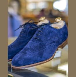 Handmade Mens Royal Blue Suede Shoes, Men Wingtip Royal Blue Party Shoes
