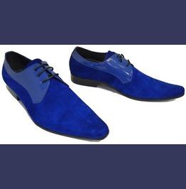 Mens Style Fashion Royal Blue Shoes, Men Derby Party Shoes, Men Blue Shoes