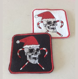 Embroidered Santa Skull Christmas Patch
