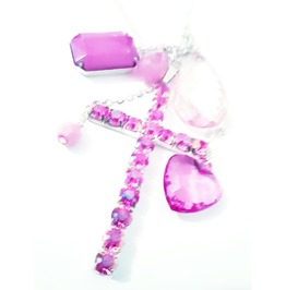 Eye Catching Pink Diamante Cross And Bead Charms Long Necklace